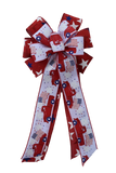 "10""  Wired 2-Ribbon Red, White, and Blue Patriotic Flag Wreath Bow"