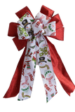 "10""  Wired 2-Ribbon Red Christmas Snowman Wreath Bow"