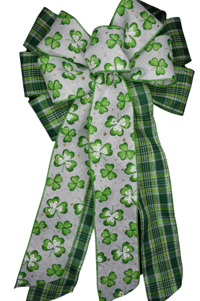"10""  Wired 2-Ribbon St. Patrick's Shamrock and Green Plaid Bow"