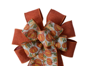 "10""  Wired 2-Ribbon Orange Pumpkin Wreath Bow"