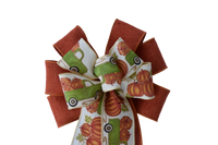 "10""  Wired 2-Ribbon Orange Pumpkin Truck Wreath Bow"