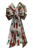 "10""  Wired 2-Ribbon Red and Green Plaid Roadway Christmas Wreath Bow"