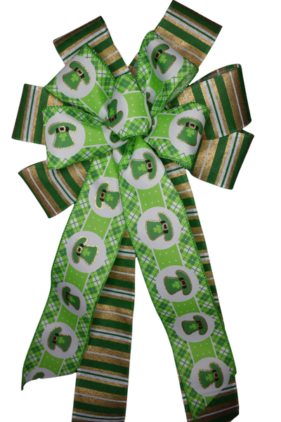 "10""  Wired 2-Ribbon St. Patrick's Hat and Green and Gold Stripe Bow"