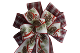 "10""  Wired 2-Ribbon Red Plaid Pine Cone Christmas Wreath Bow"