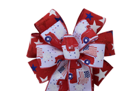 "10""  Wired 2-Ribbon Red Patriotic Wreath Bow"