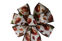 "Small 5-6"" Hand Made Leaf and Acorn Autumn Bow"