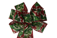 "Small 5-6"" Red and Green Christmas Berries Wired Bow"
