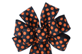 "10""  Wired Black and Orange Polka Dot Wreath Bow"