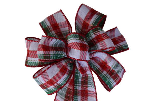 "Small 5-6"" Red and Green Christmas Plaid Wired Bow"