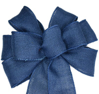 "Small 5-6"" Blue Denim Linen Wired Bow"