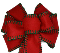 "10"" Large Red Felt with Green Blanket Stitch Wired Christmas Wreath Bow"