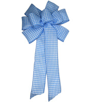 "10"" Wired Light Blue and White Check Bow"