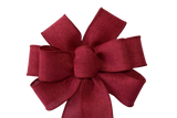 "Small 5-6"" Hand Made Red Linen Christmas Bow"