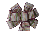 "10""  Wired Fall Stripe Wreath Bow"
