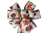 "Small 5-6"" Hand Made Football with Leaves Autumn Bow"