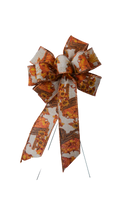 "Large 10"" Wired Pumpkin and Wheat Glitter Wreath Bow"