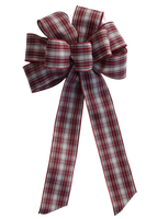 "10"" Large Burgundy and White Plaid Wired Christmas Bow"