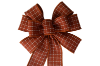 "Small 5-6"" Wired Orange Squares Wreath Bow"