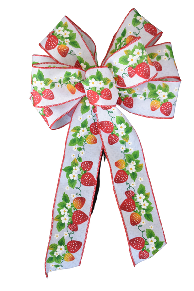 "Large 10""  Wired Spring Strawberry Bow"