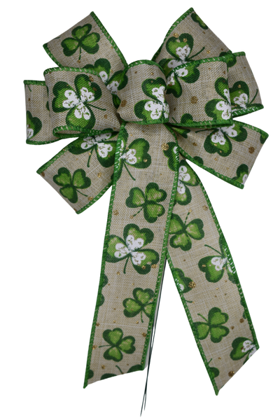 "Small 5-6"" Green Clover on Natural Bow"