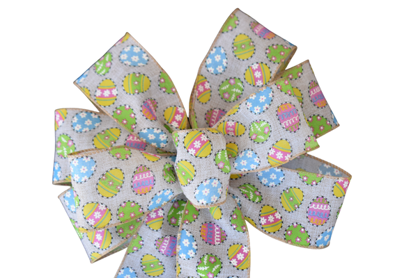"10""  Wired Small Easter Eggs on Natural Bow"