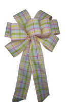 "Large 10"" Wired Pastel Spring Plaid Bow"