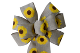 "10""  Wired Natural Sunflower Bow"