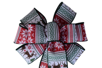 "Small 5-6"" Christmas Sweater Wired Bow"