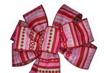 "Small 5-6"" Red and Pink Swirl Bow"