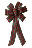 "10"" Large Christmas Plaid with Gold Edge Wired Bow"