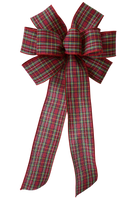 "10"" Large Christmas Plaid with Red Edge Wired Bow"