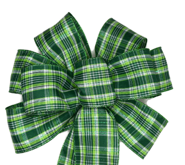 "10"" Wired St. Patrick's Day Green Plaid Bow"