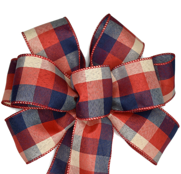 "10""  Wired Red, Blue and Natural Check Wreath Bow"