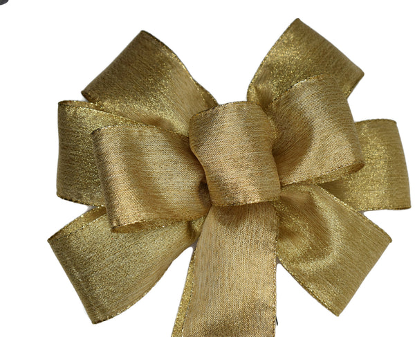"Large 9-10"" Metallic Soft Gold Wired Christmas Bow"