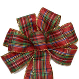 "SMALL 5-6"" Wired Red and Green Plaid with Gold Edged Christmas Bow"
