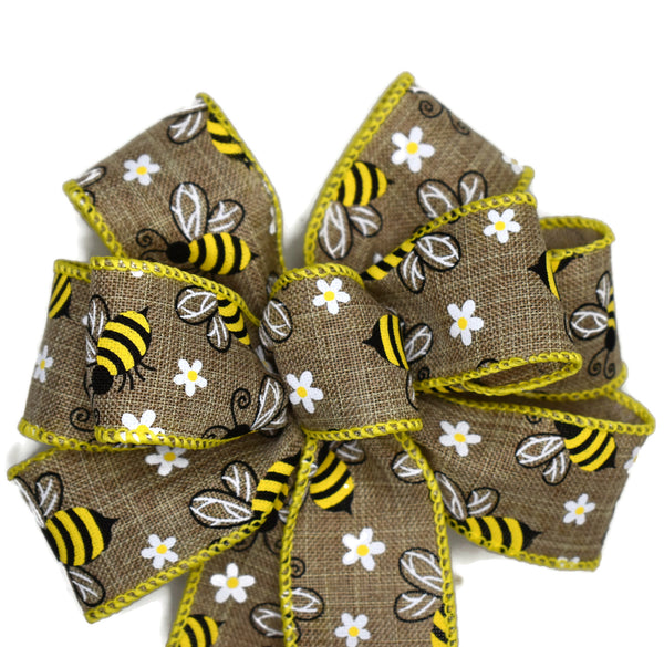 "Small 5-6"" Wired Yellow Honey Bee Bow"