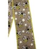 "10""  Wired Honey Bee on Natural Linen Wreath Bow"