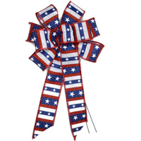 "Small 5-6"" Hand Made Wired Red, White & Blue Stripe Bow"