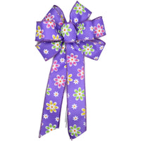 "Small 5-6"" Wired Purple Daisy Bow"