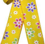 "Small 5-6"" Wired Yellow Daisy Bow"