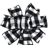 "10"" Hand Made Wired Black and White Wreath Bow"