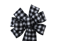 "Large 9-10"" Hand Made White & Black Flannel Buffalo Plaid Christmas Bow"