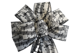 "10"" Hand Made Wired Black and White Music Notes Wreath Bow"