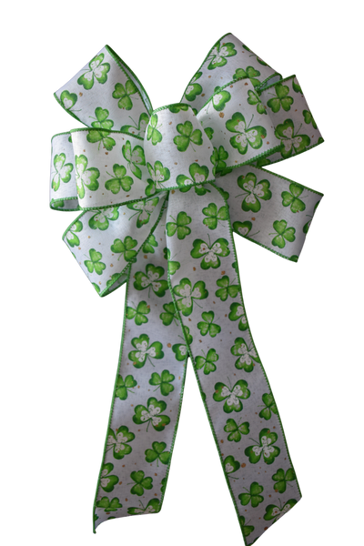 "10"" Large Green St. Patrick's Clover Bow"