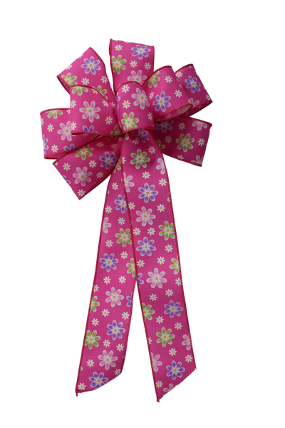 "Large 9-10"" Wired Pink Daisy Bow"