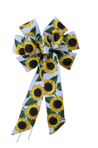 "Small 5-6"" Wired Sunflower on White Ribbon Bow"