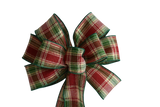 "10"" Large Red and Green Plaid Wired Christmas Bow"