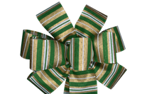 "Small 5-6"" Green and Gold Striped Bow"