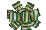 "10"" Large Green and Gold Striped Bow"