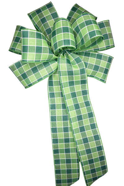 "10"" Large Green Plaid Bow"